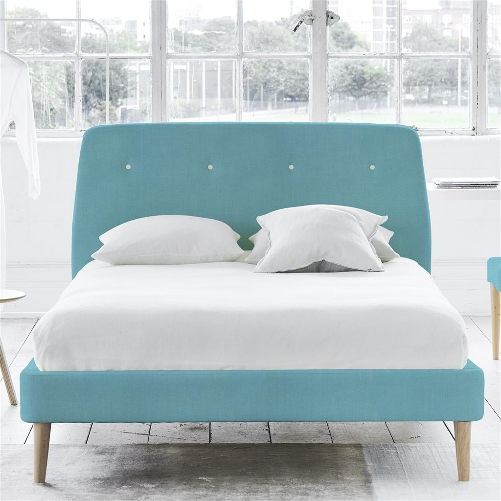COSMO BED WHITE BUTTONS - SINGLE - BEECH LEG - BRERA LINO TURQUOISE