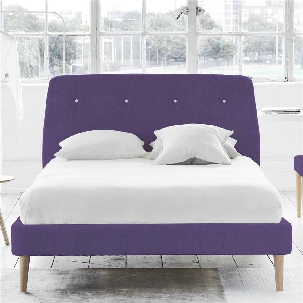 COSMO BED WHITE BUTTONS - SUPERKING - BEECH LEG - BRERA LINO VIOLET