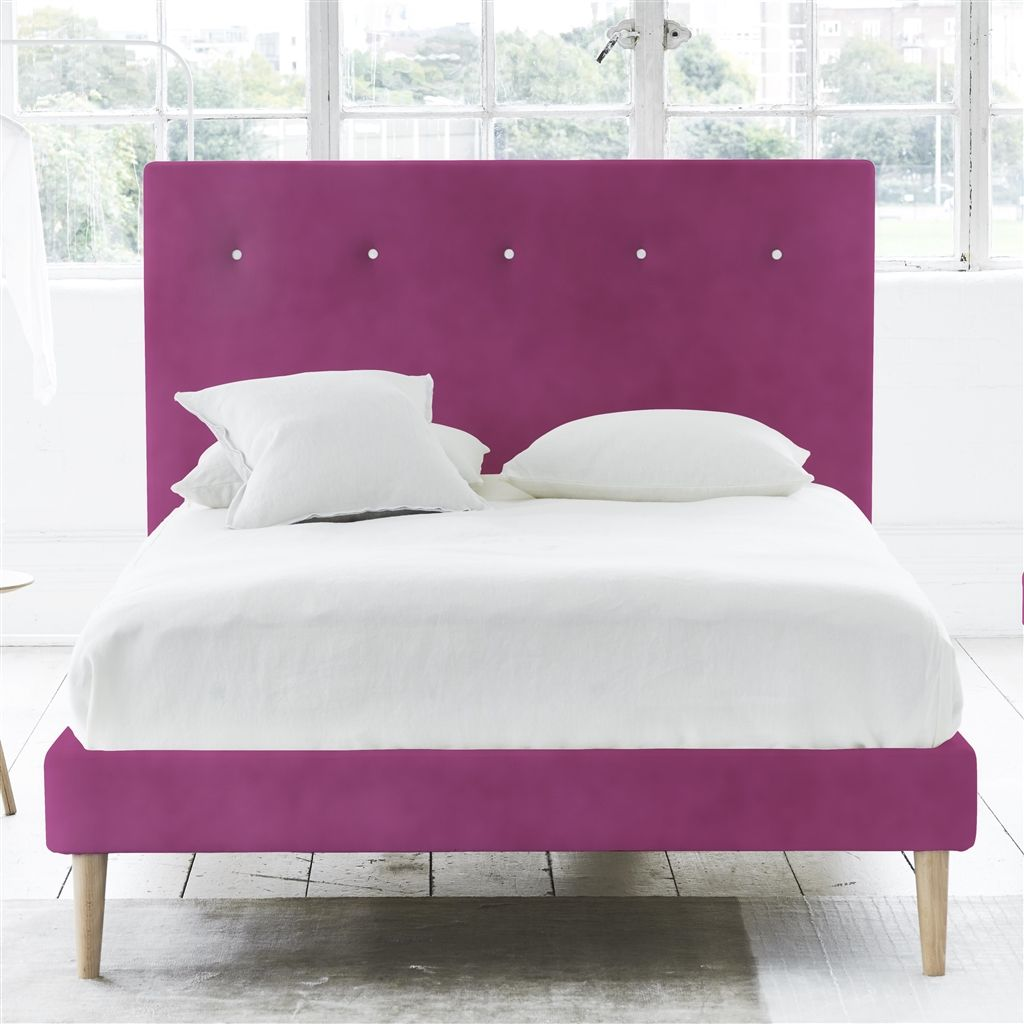POLKA BED WHITE BUTTONS - DOUBLE - BEECH LEG - CASSIA MAGENTA