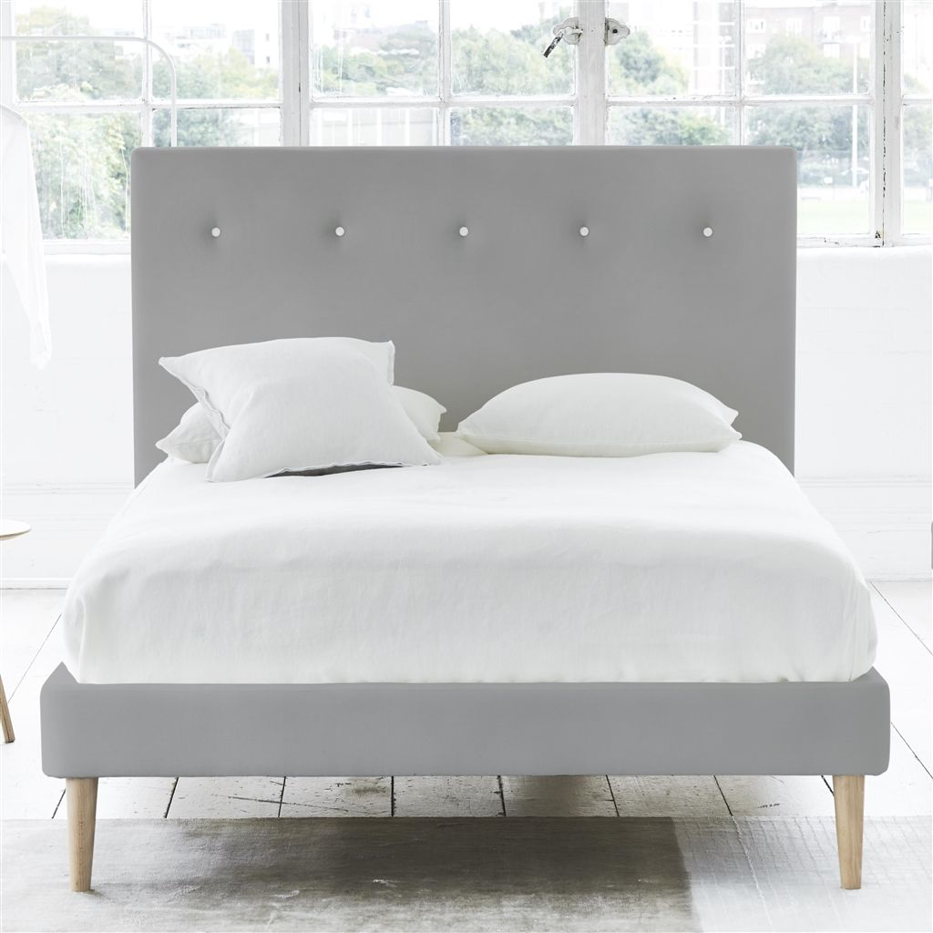 POLKA BED WHITE BUTTONS - SINGLE - BEECH LEG - CASSIA ZINC