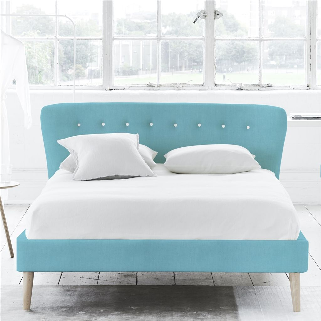 WAVE BED WHITE BUTTONS - DOUBLE - BEECH LEG - BRERA LINO TURQUOISE
