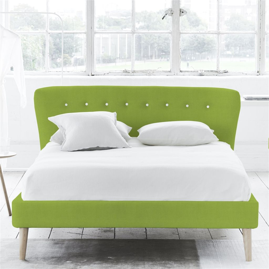 WAVE BED WHITE BUTTONS - DOUBLE - BEECH LEG - BRERA LINO LEAF