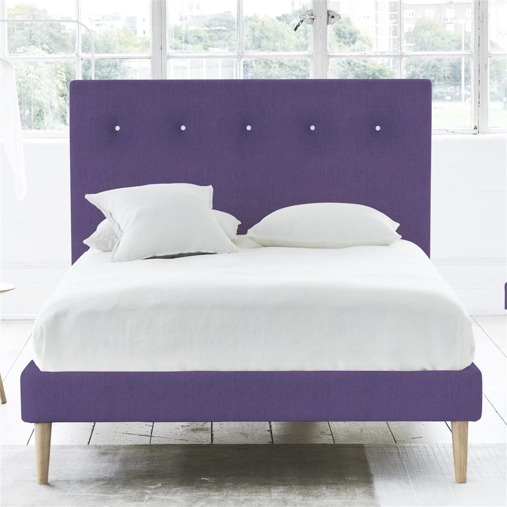 POLKA BED WHITE BUTTONS - KING - BEECH LEG - BRERA LINO VIOLET