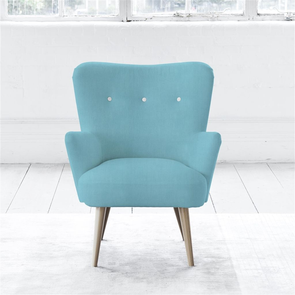 FLORENCE CHAIR - WHITE BUTTONS - BEECH LEG - BRERA LINO TURQUOISE