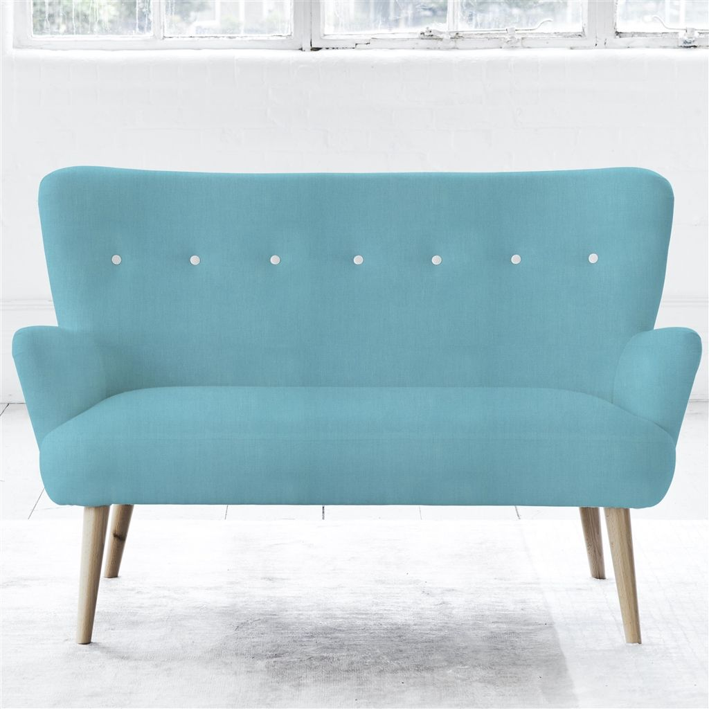 FLORENCE 2 SEATER - WHITE BUTTONS - BEECH LEG - BRERA LINO TURQUOISE