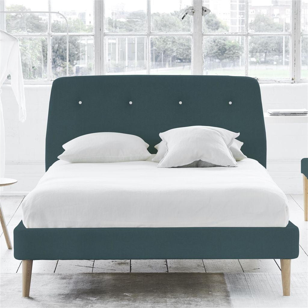 COSMO BED WHITE BUTTONS - DOUBLE - BEECH LEG - CASSIA KINGFISHER