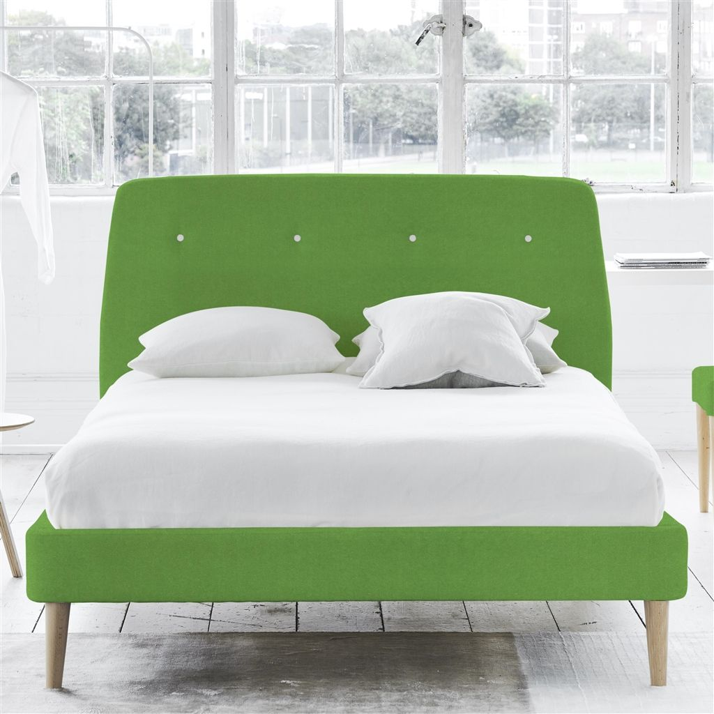 Cosmo Bed White Buttons - King - Beech Leg - Cassia Grass