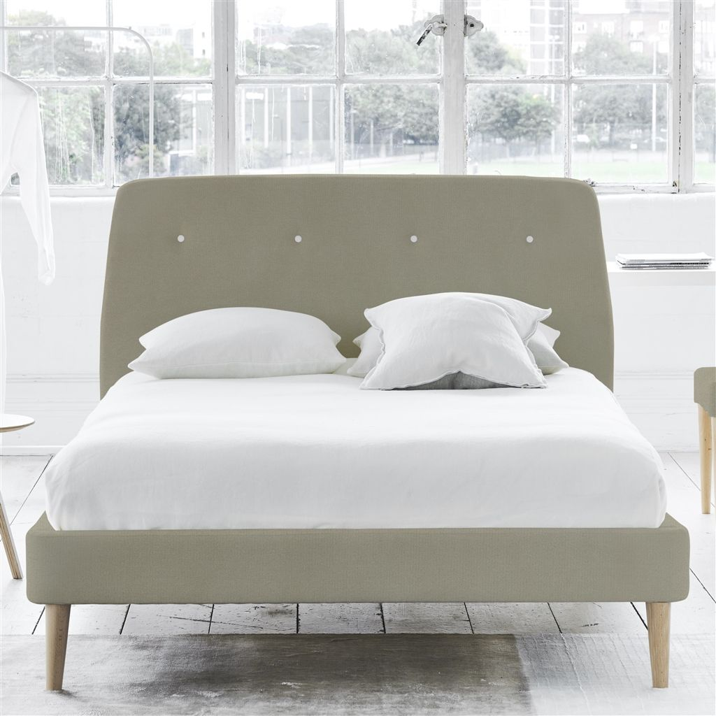 COSMO BED WHITE BUTTONS - KING - BEECH LEG - CASSIA DOVE
