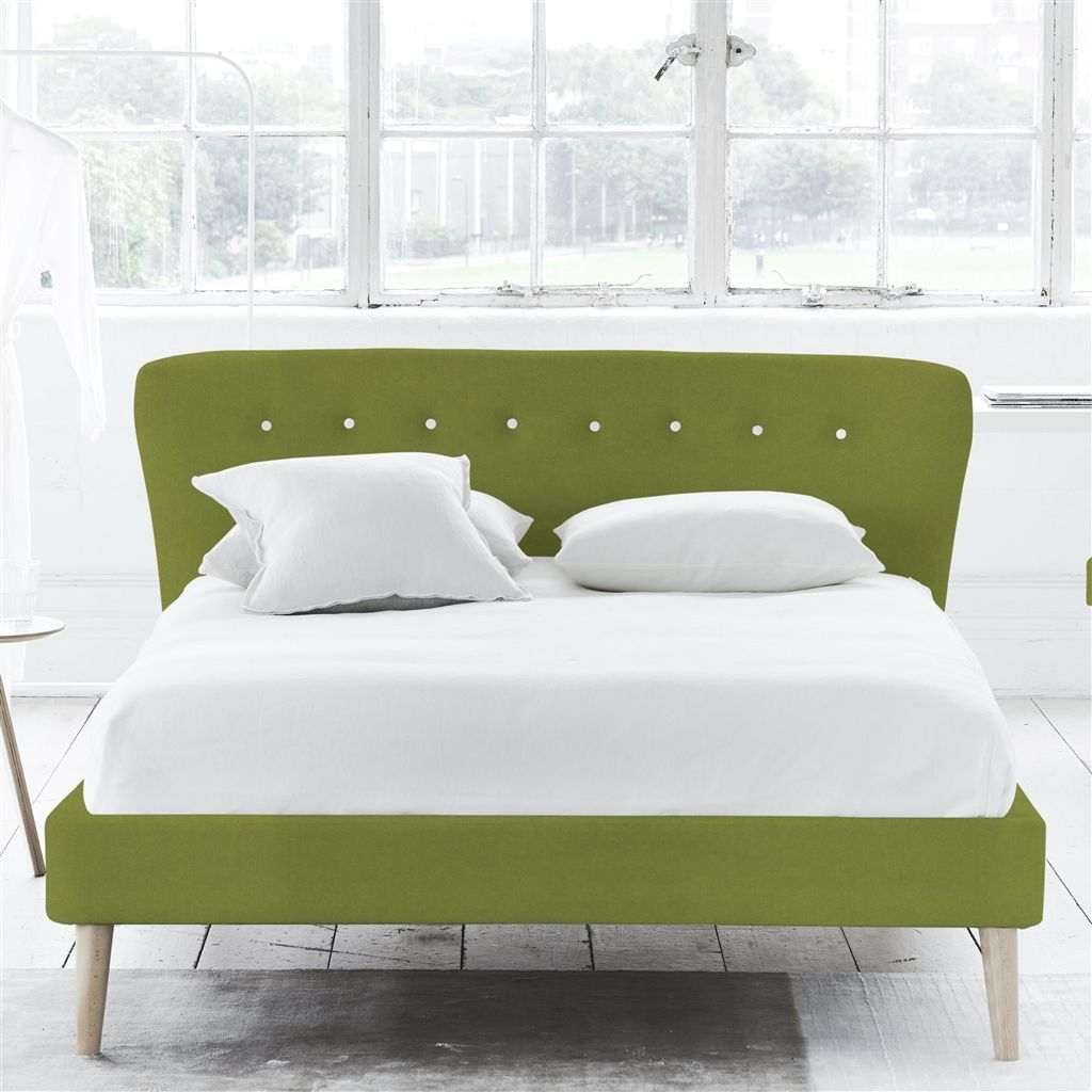 WAVE BED WHITE BUTTONS - DOUBLE - BEECH LEG - CASSIA APPLE
