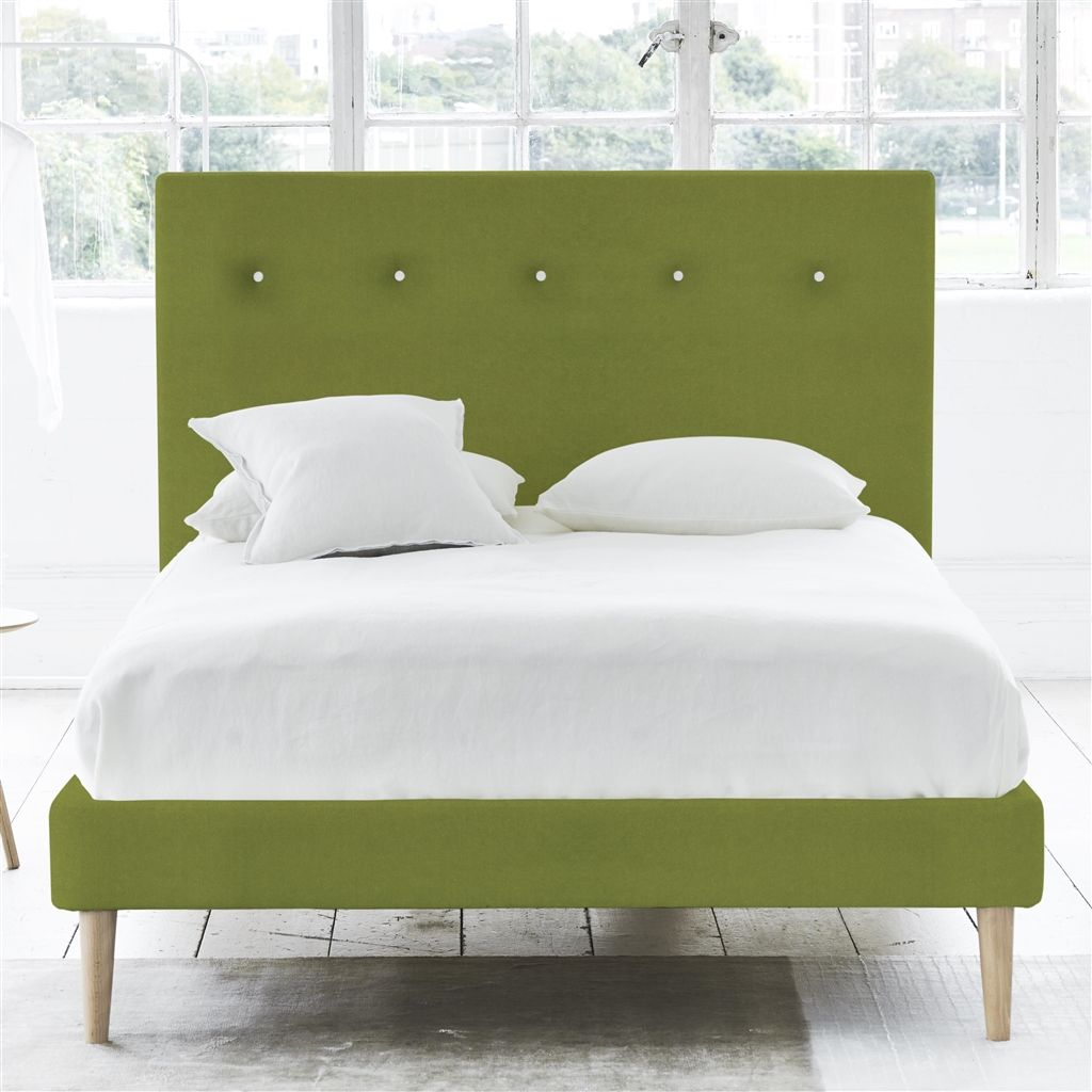 POLKA BED WHITE BUTTONS - DOUBLE - BEECH LEG - CASSIA APPLE