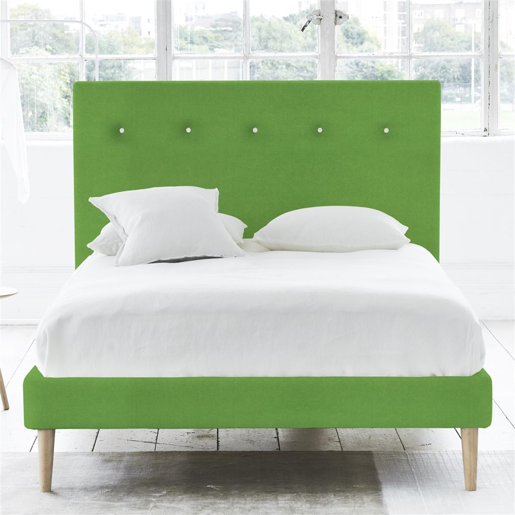 POLKA BED WHITE BUTTONS - SUPERKING - BEECH LEG - CASSIA GRASS