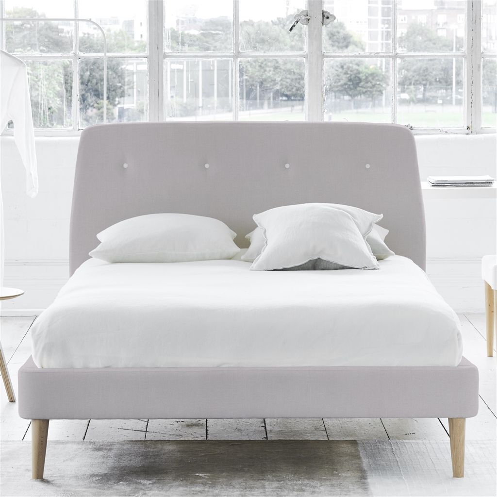 COSMO BED WHITE BUTTONS - DOUBLE - BEECH LEG - BRERA LINO PLATINUM