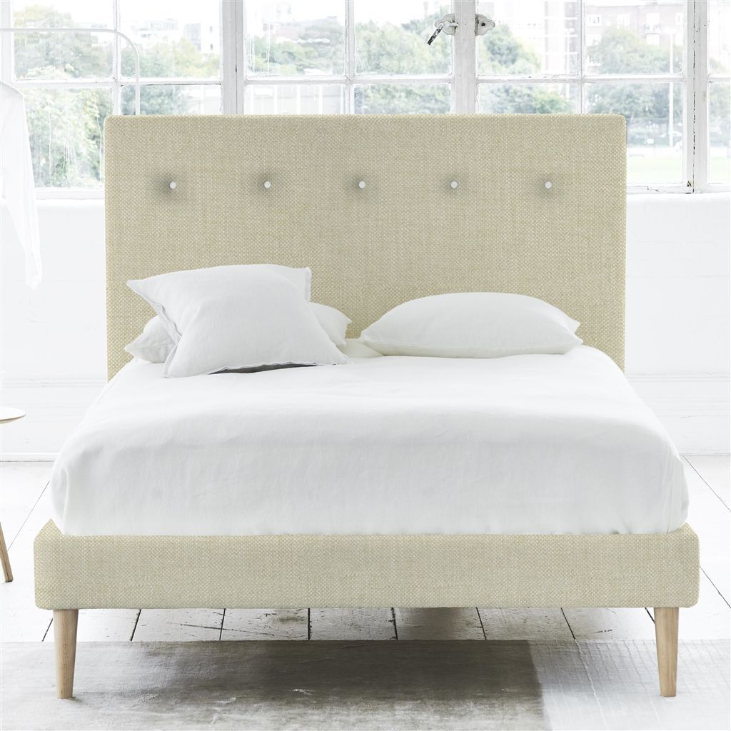 POLKA BED WHITE BUTTONS - SINGLE - BEECH LEG - ELRICK NATURAL