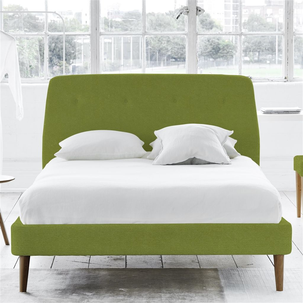 COSMO BED-SELF BUTTONS - KING - WALNUT LEG - CASSIA APPLE