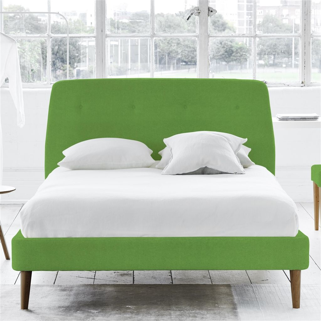 COSMO BED-SELF BUTTONS - DOUBLE - WALNUT LEG - CASSIA GRASS