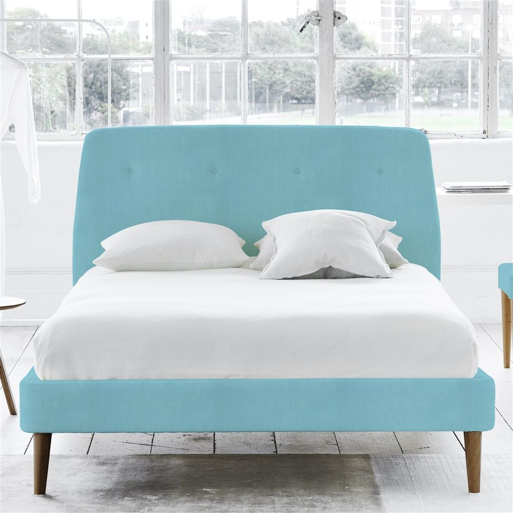 COSMO BED-SELF BUTTONS - SUPERKING - WALNUT LEG - BRERA LINO TURQUOISE