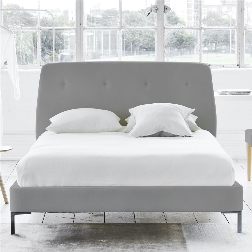 COSMO BED-SELF BUTTONS - KING - METAL LEG - CASSIA ZINC
