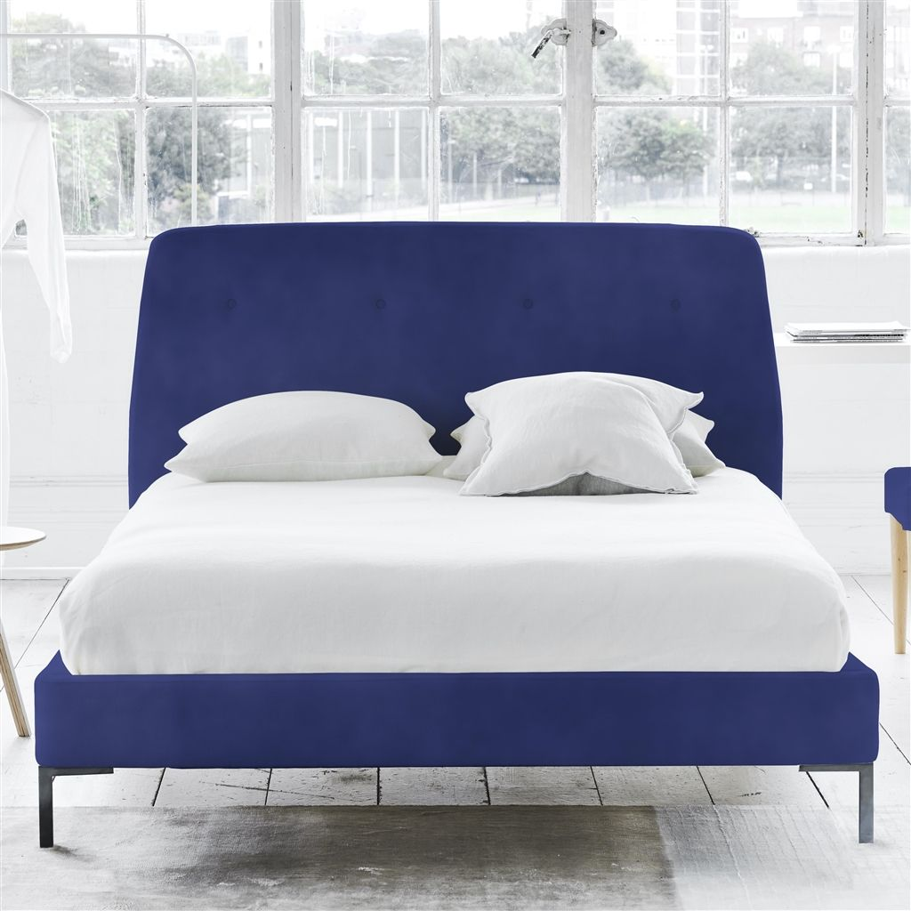 COSMO BED-SELF BUTTONS - KING - METAL LEG - CASSIA COBALT