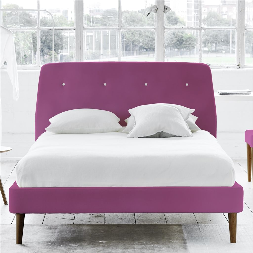 COSMO BED WHITE BUTTONS - KING - WALNUT LEG - CASSIA MAGENTA