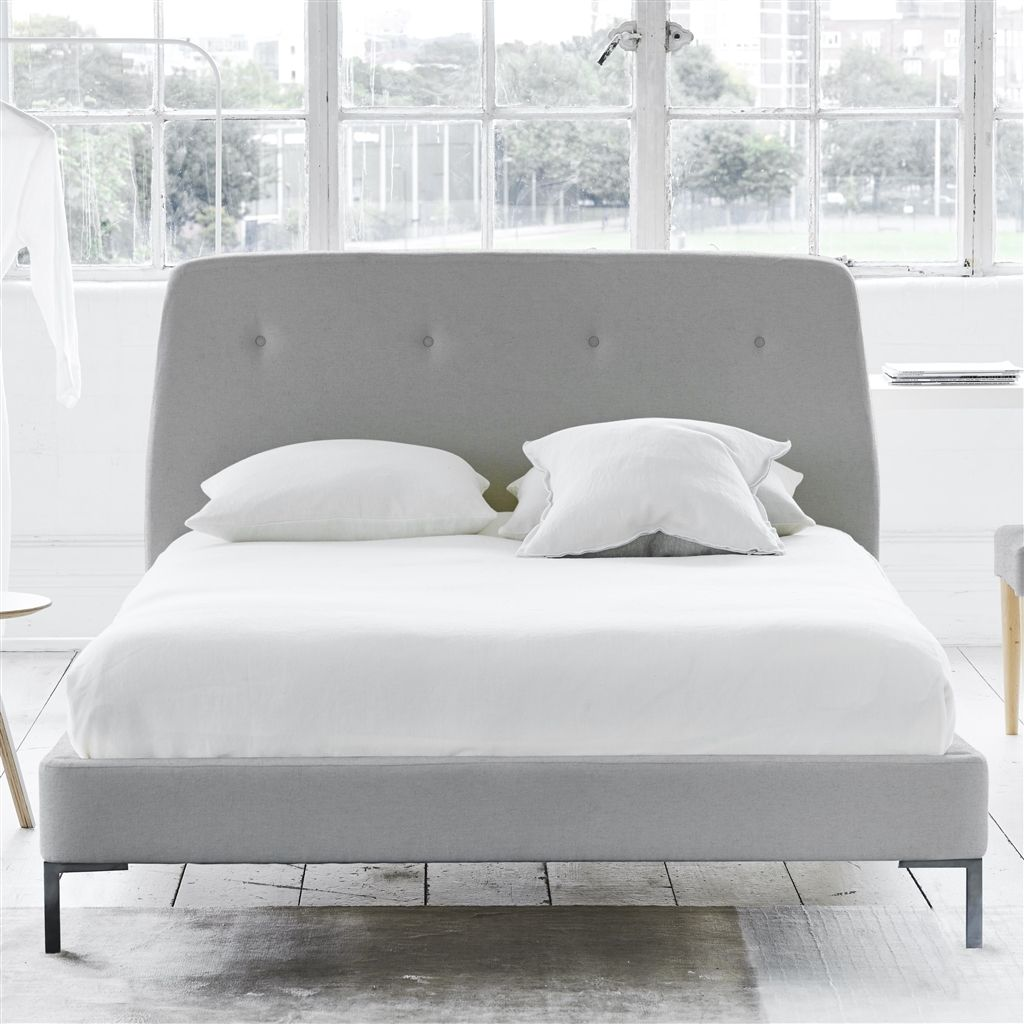 COSMO BED-SELF BUTTONS - SINGLE - METAL LEG - CHEVIOT STONE