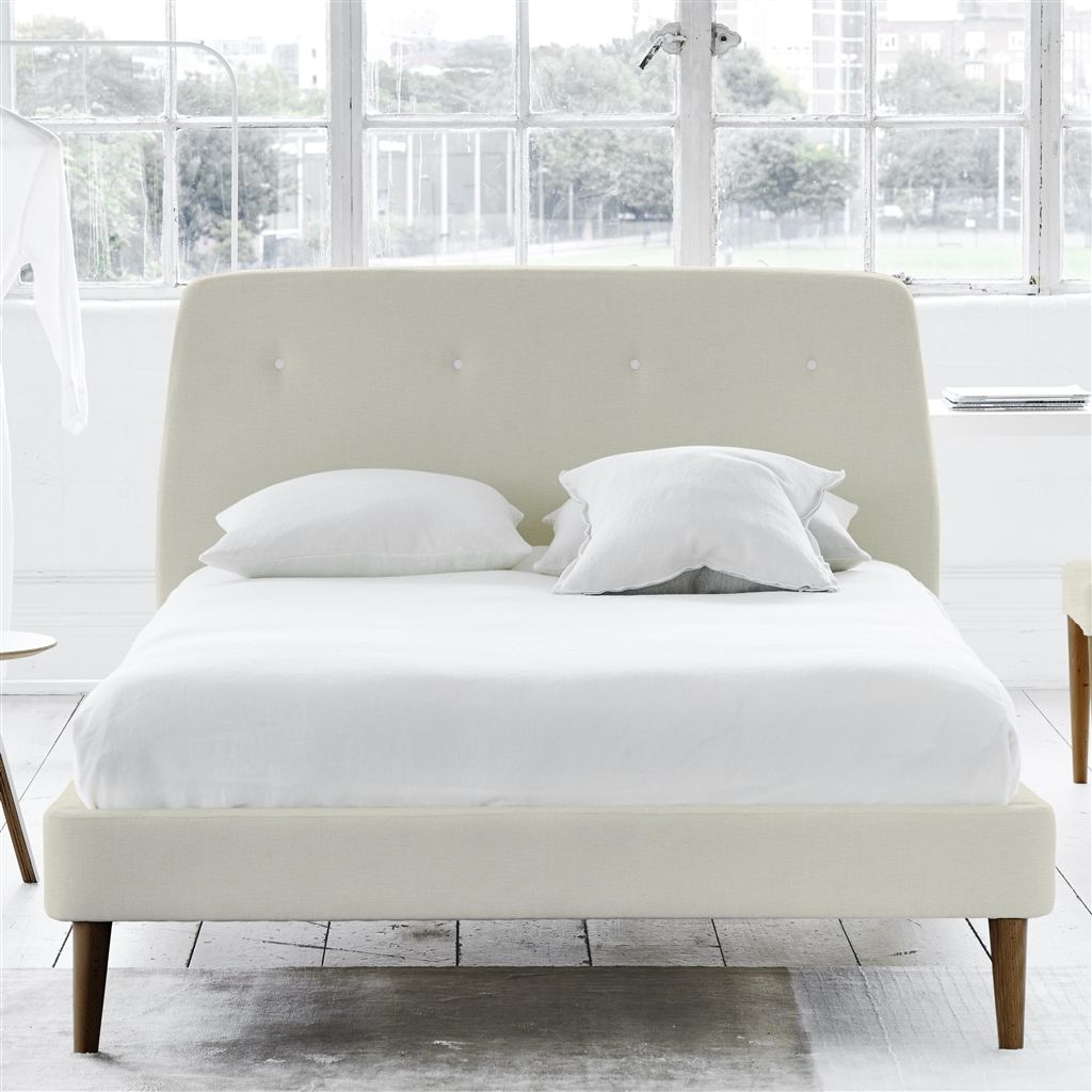 COSMO BED WHITE BUTTONS - DOUBLE - WALNUT LEG - ELRICK ALABASTER