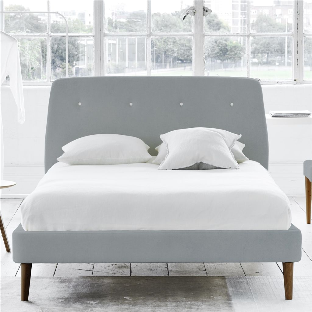 COSMO BED WHITE BUTTONS - KING - WALNUT LEG - CASSIA ZINC