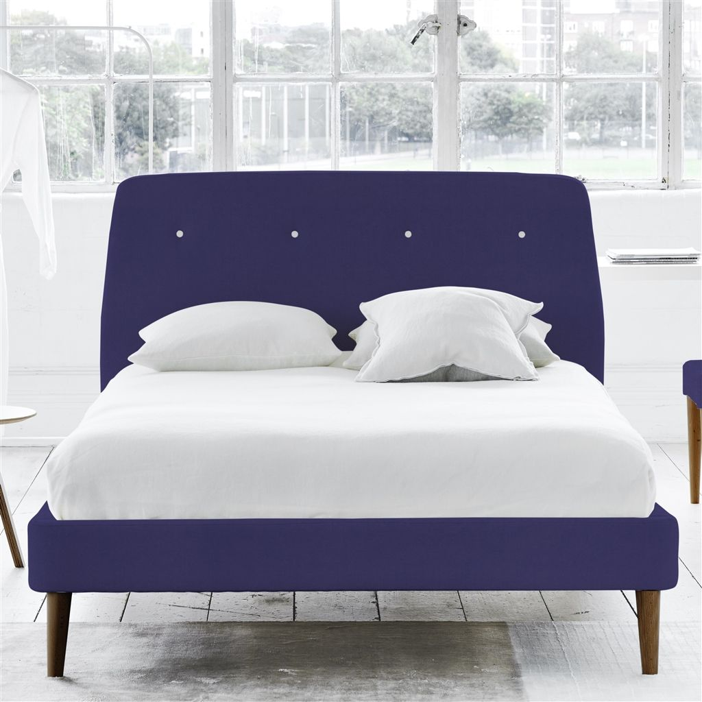 Cosmo Bed White Buttons - King - Walnut Leg - Cassia Dewberry
