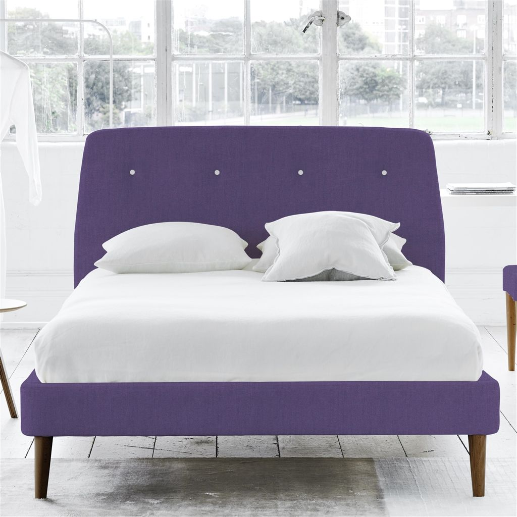 COSMO BED WHITE BUTTONS - KING - WALNUT LEG - BRERA LINO VIOLET