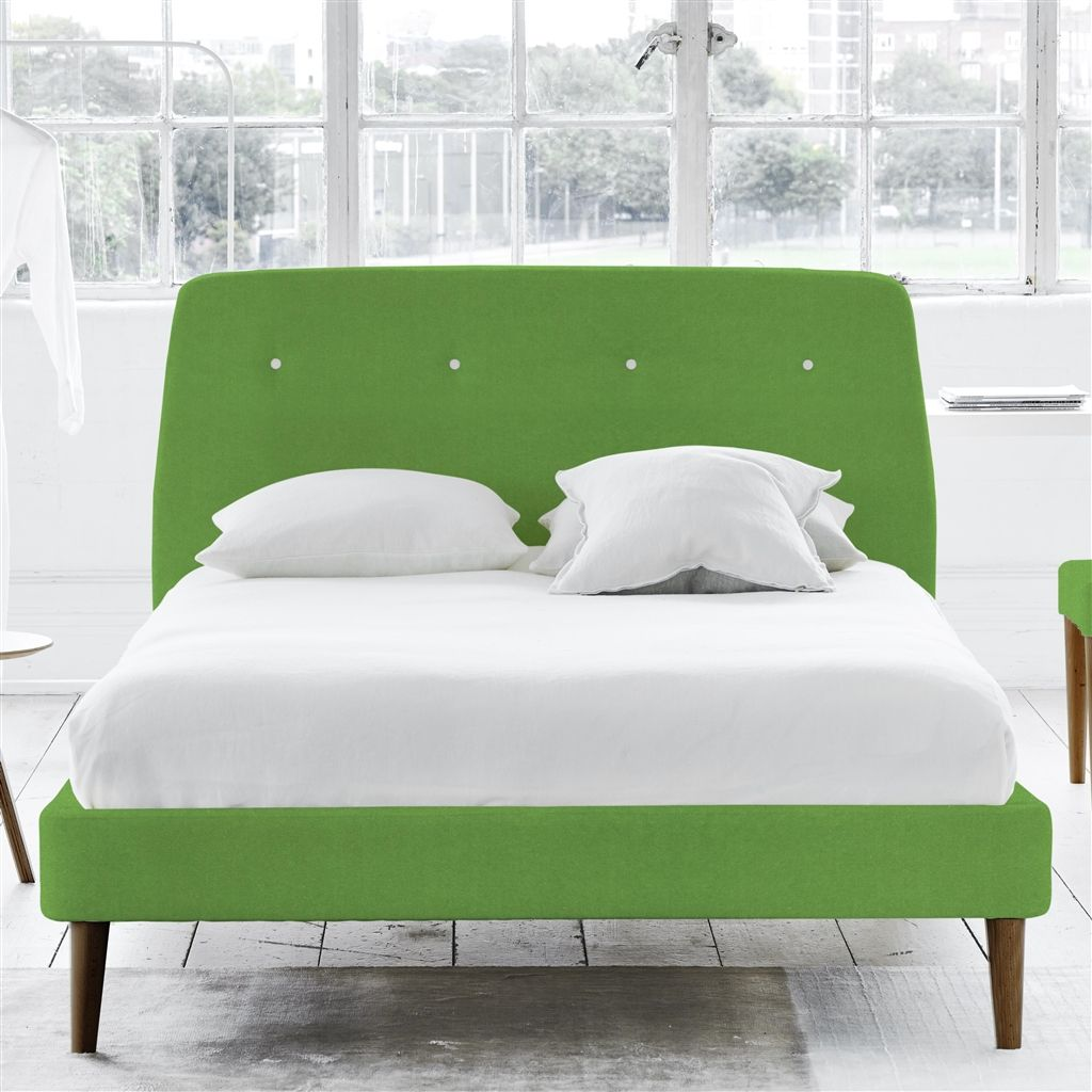 COSMO BED WHITE BUTTONS - SUPERKING - WALNUT LEG - CASSIA GRASS