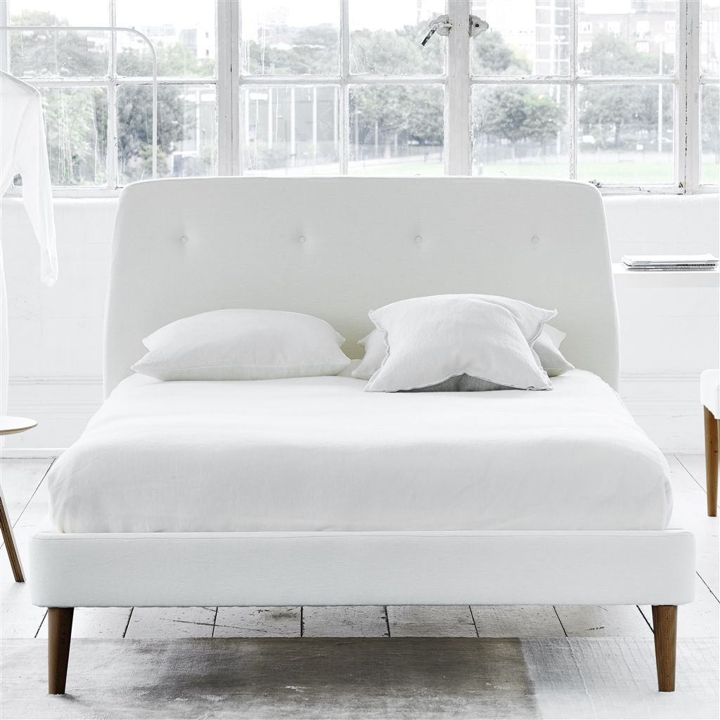 Cosmo Bed White Buttons - King - Walnut Leg - Cassia Chalk