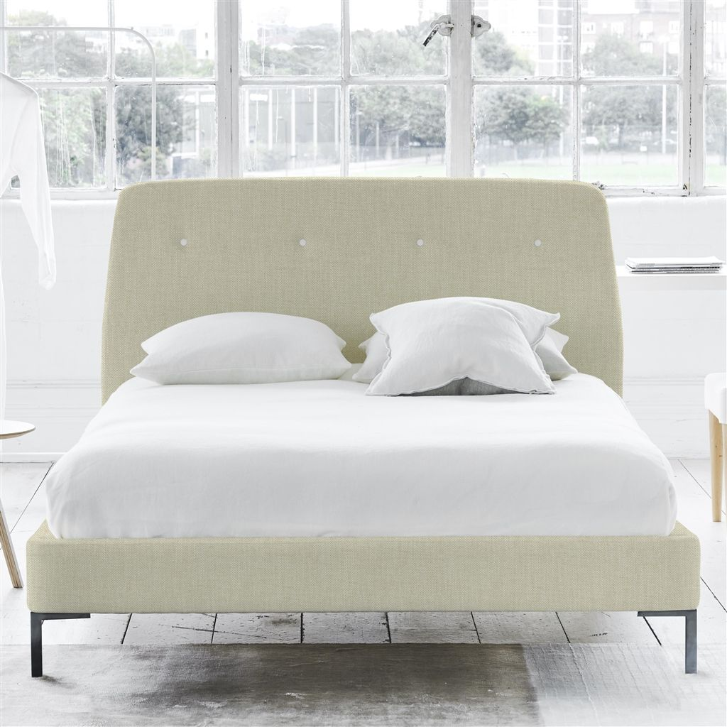 COSMO BED WHITE BUTTONS - SUPERKING - METAL LEG - ELRICK NATURAL