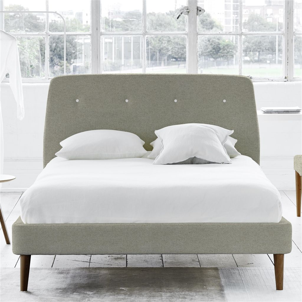 COSMO BED WHITE BUTTONS - DOUBLE - WALNUT LEG - CHEVIOT PEBBLE