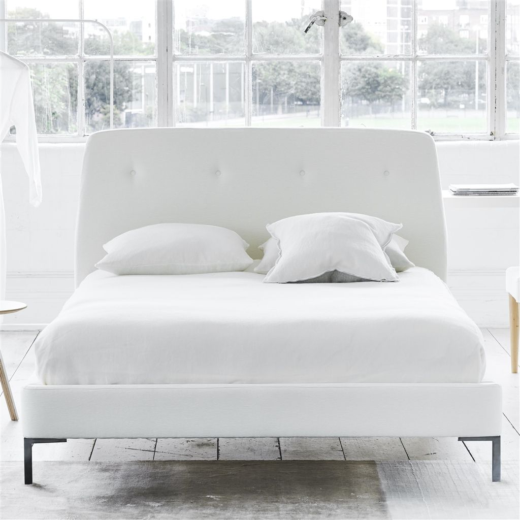 COSMO BED WHITE BUTTONS - SINGLE - METAL LEG - CASSIA CHALK