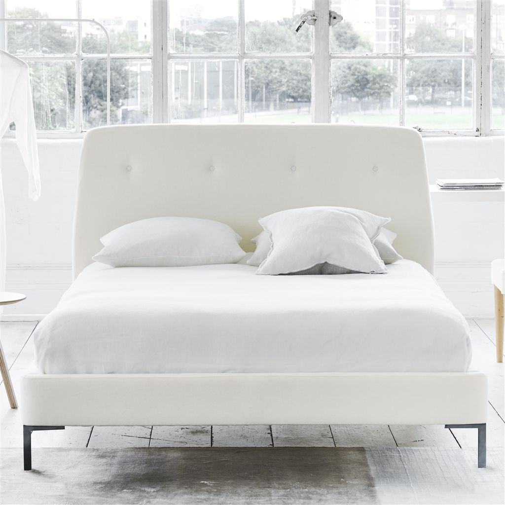 COSMO BED WHITE BUTTONS - KING - METAL LEG - BRERA LINO OYSTER