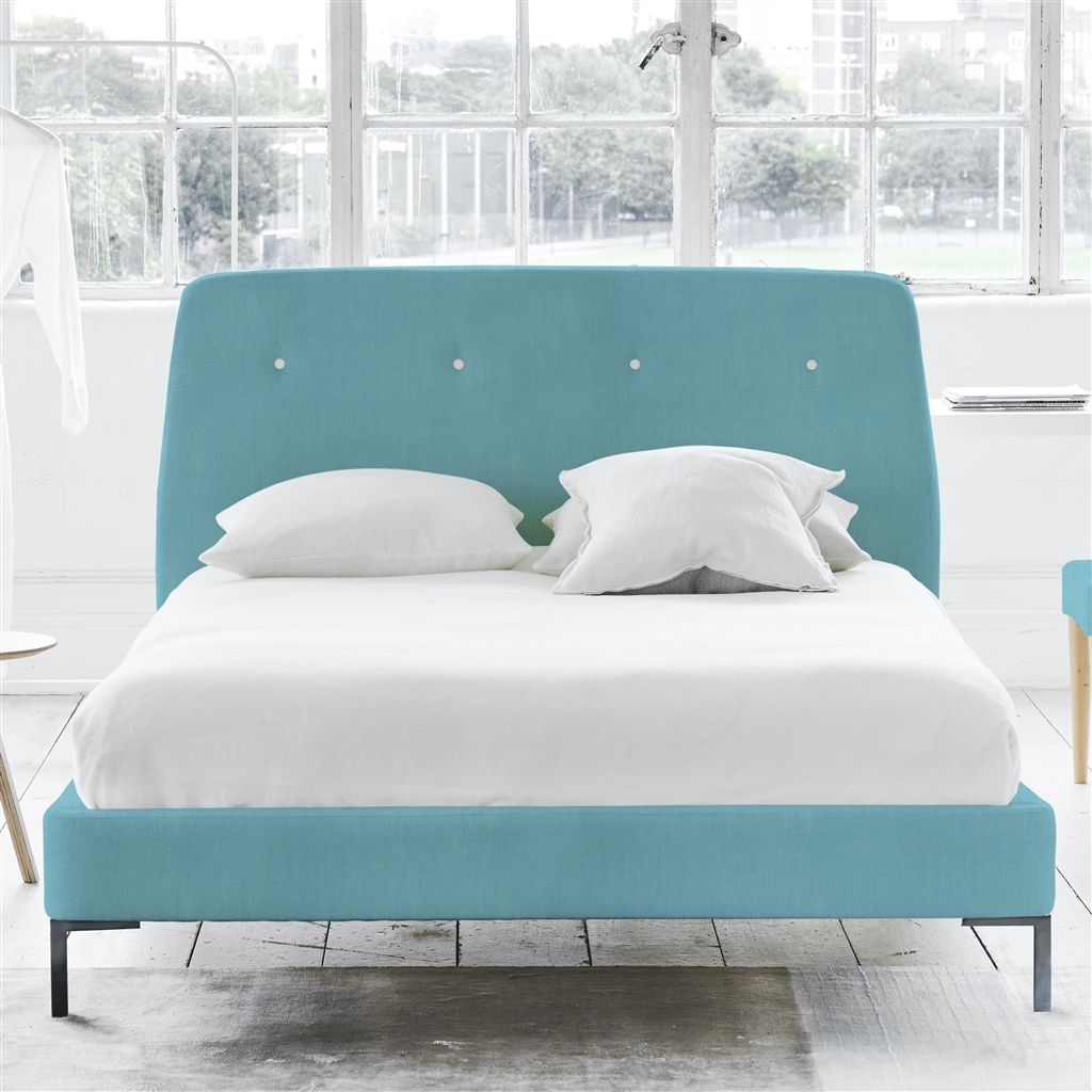 COSMO BED WHITE BUTTONS - KING - METAL LEG - BRERA LINO TURQUOISE