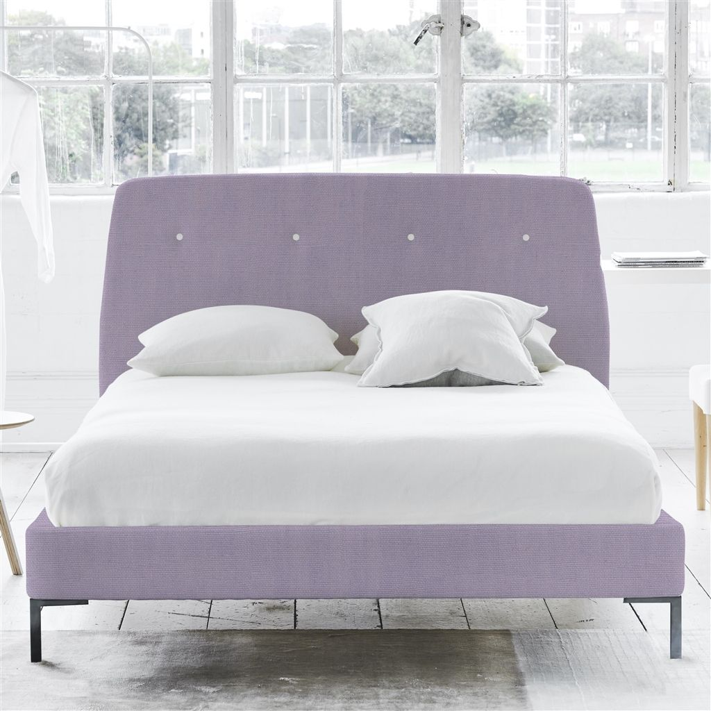 Cosmo Bed White Buttons - Double - Metal Leg - Brera Lino Heather