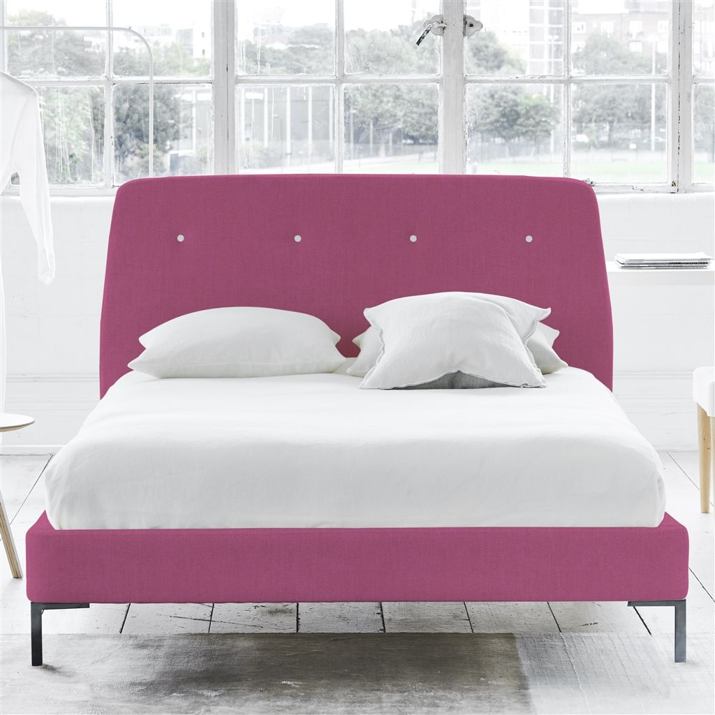 COSMO BED WHITE BUTTONS - SUPERKING - METAL LEG - BRERA LINO PEONY