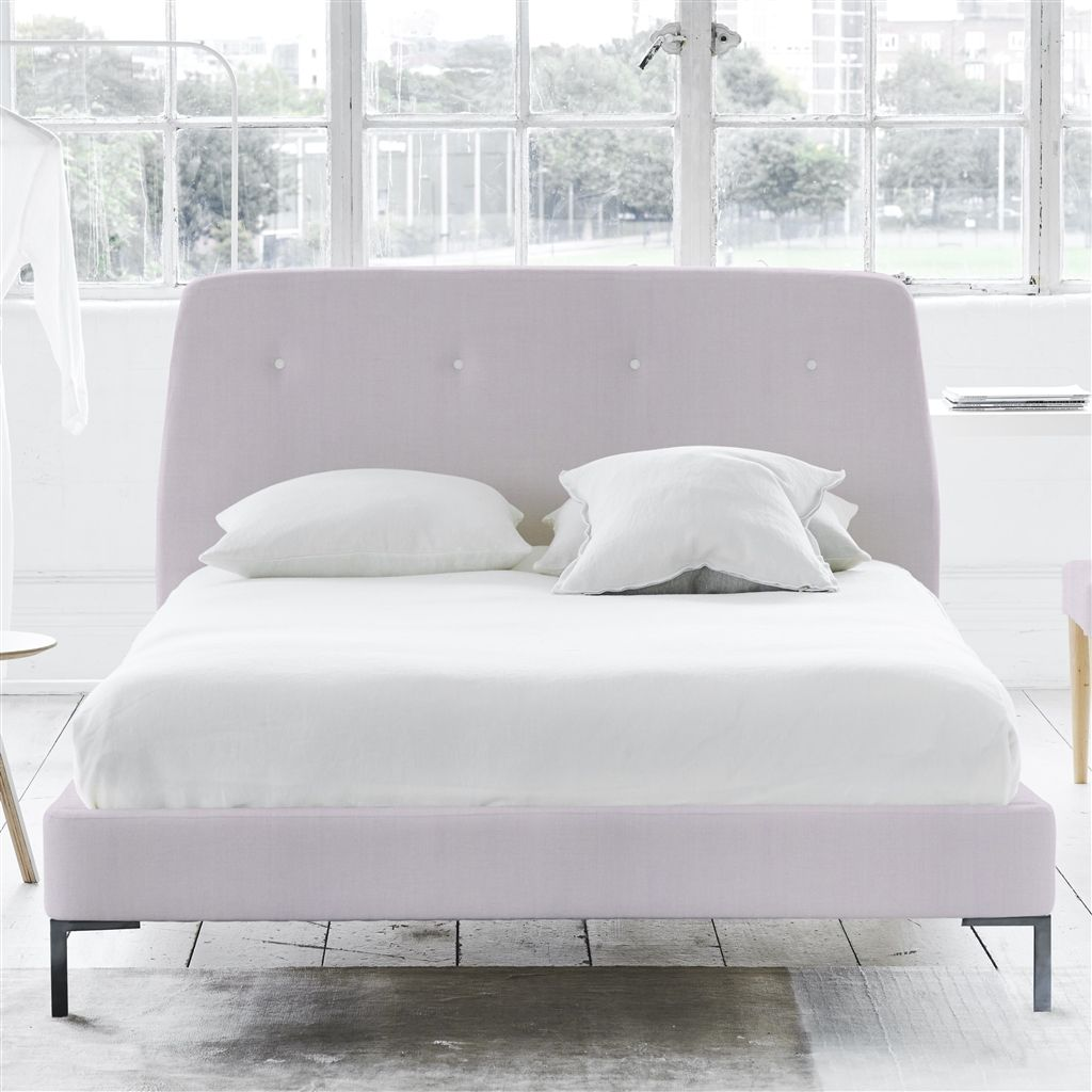 COSMO BED WHITE BUTTONS - DOUBLE - METAL LEG - BRERA LINO PALE ROSE