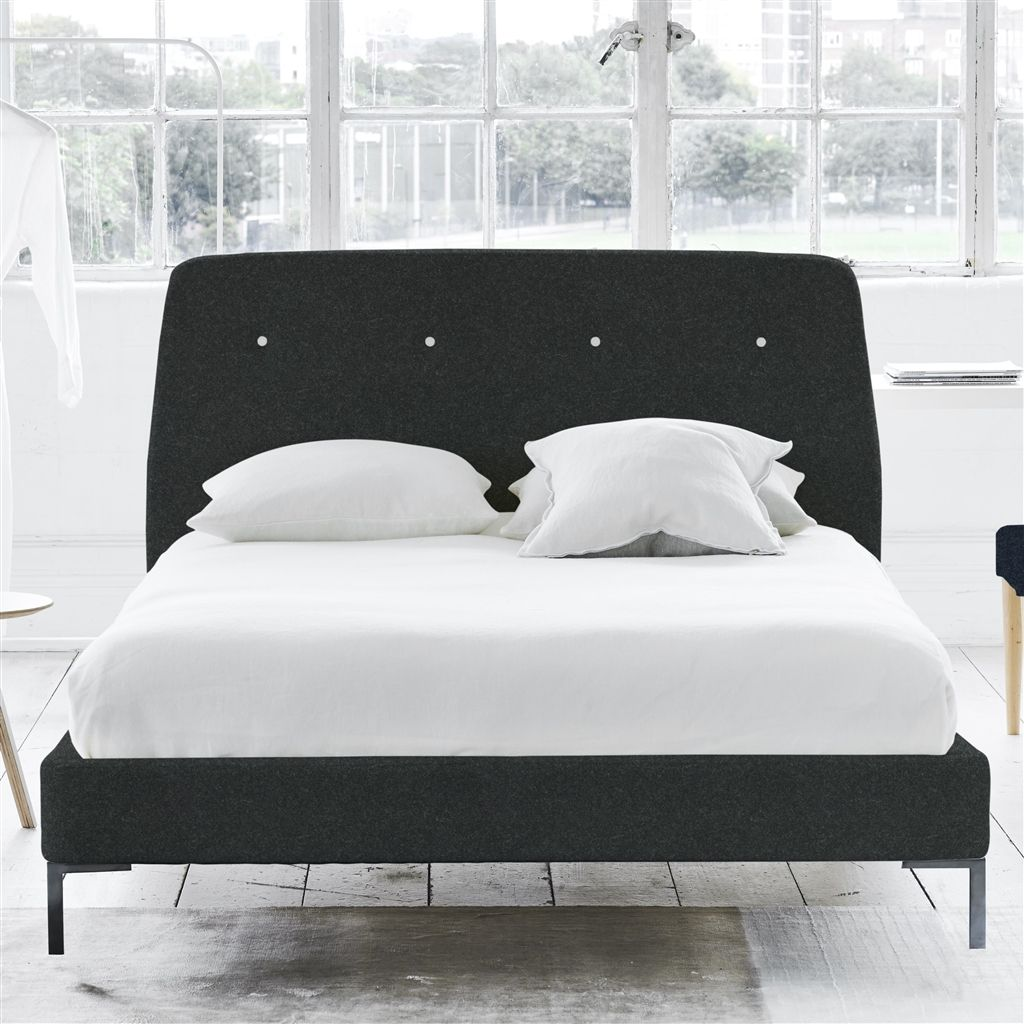 COSMO BED WHITE BUTTONS - SUPERKING - METAL LEG - CHEVIOT NOIR