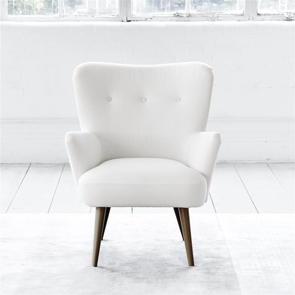 FLORENCE CHAIR - WHITE BUTTONS - WALNUT LEG - BRERA LINO OYSTER