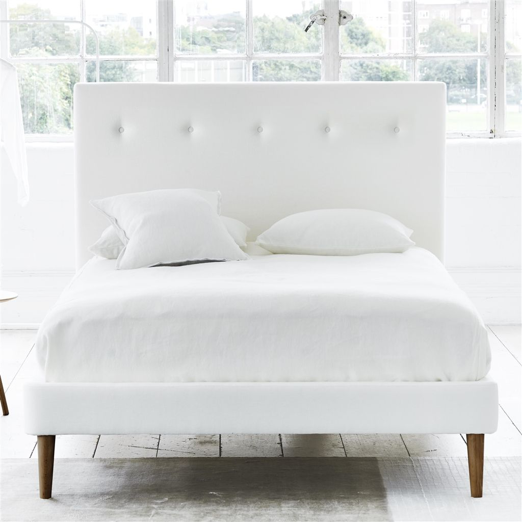 POLKA BED WHITE BUTTONS - SUPERKING - WALNUT LEG - CASSIA CHALK