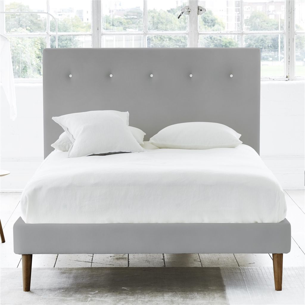 POLKA BED WHITE BUTTONS - DOUBLE - WALNUT LEG - CASSIA ZINC