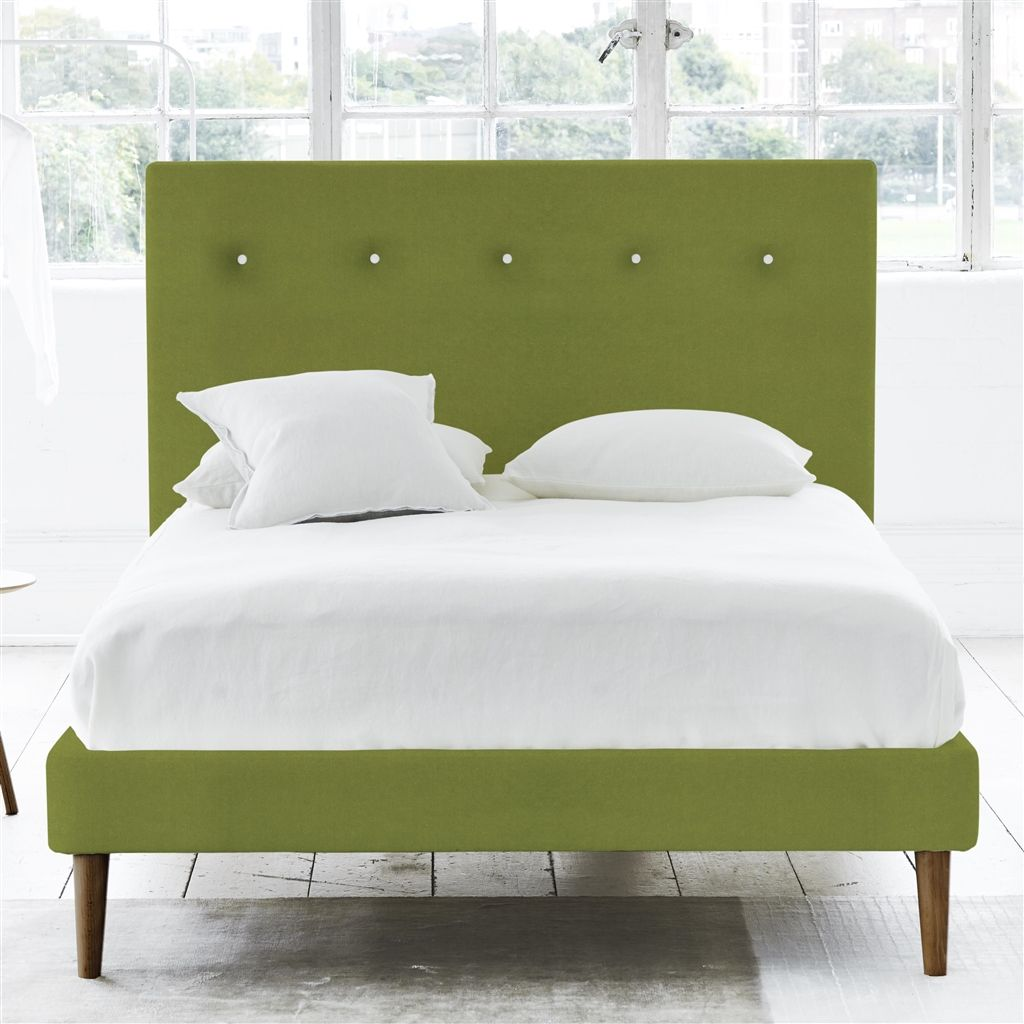 POLKA BED WHITE BUTTONS - KING - WALNUT LEG - CASSIA APPLE