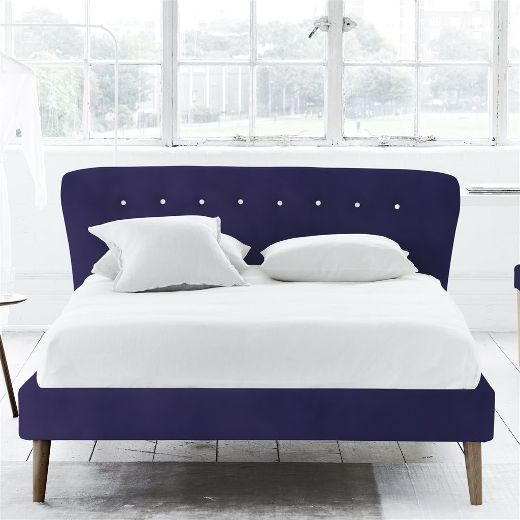 WAVE BED WHITE BUTTONS - DOUBLE - WALNUT LEG - CASSIA DEWBERRY