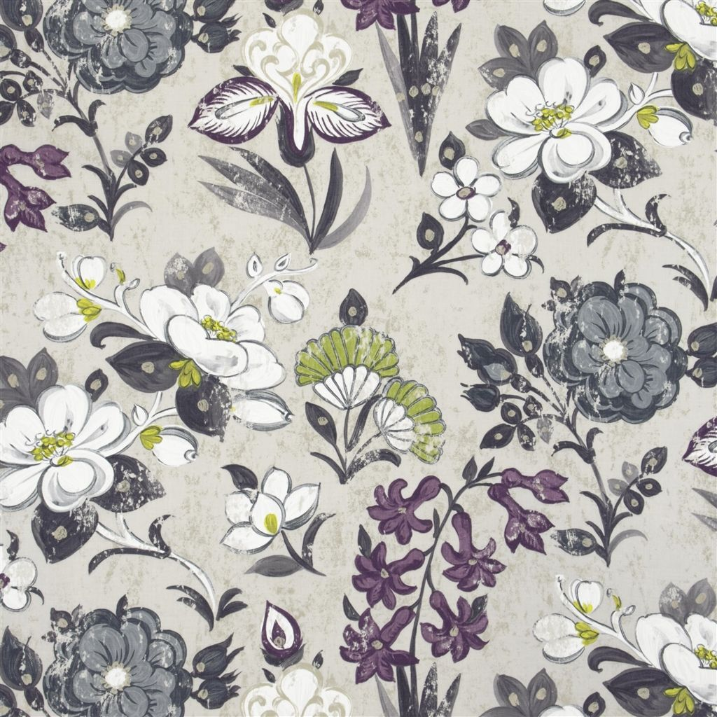 Lotus Flower Charcoal Fabric Designers Guild