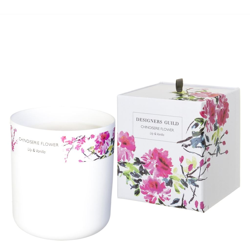 Chinoiserie Flower Lily and Vanilla Candle