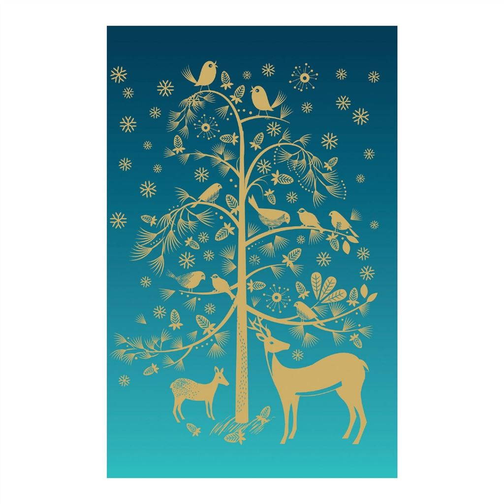 GOLEN CRITTER TREE, CHARITY PACK OF 8 ROGER LA BORDE CHRISTMAS CARDS
