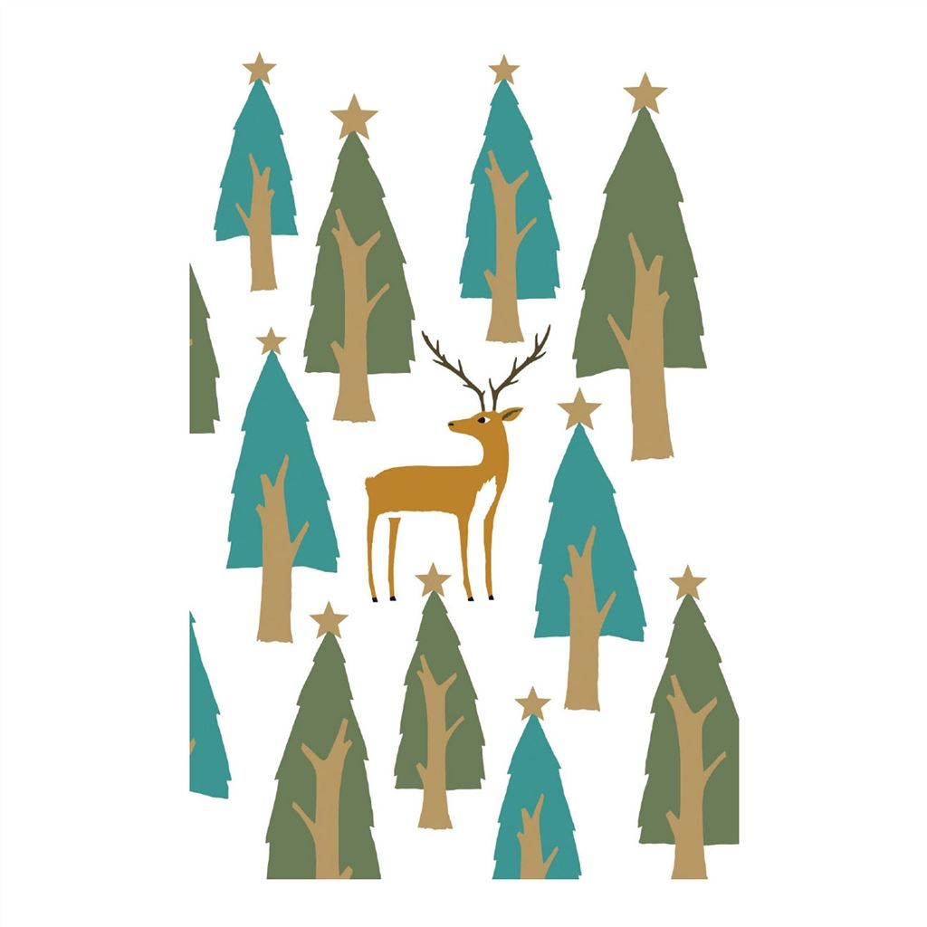 STAG AMONG XMAS TREES, CHARITY PACK OF 8 ROGER LA BORDE CHRISTMAS CARDS