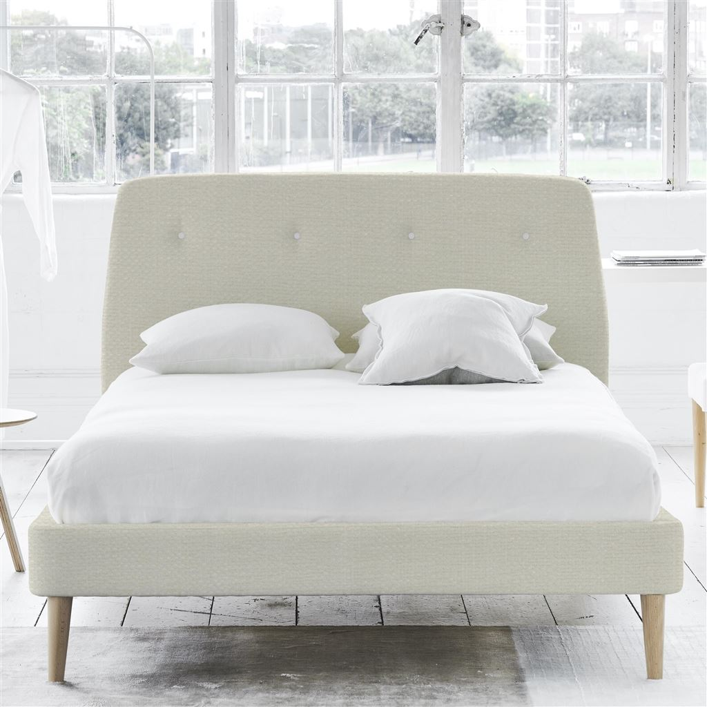 Cosmo Bed White Buttons - King - Beech Leg - Elrick Alabaster