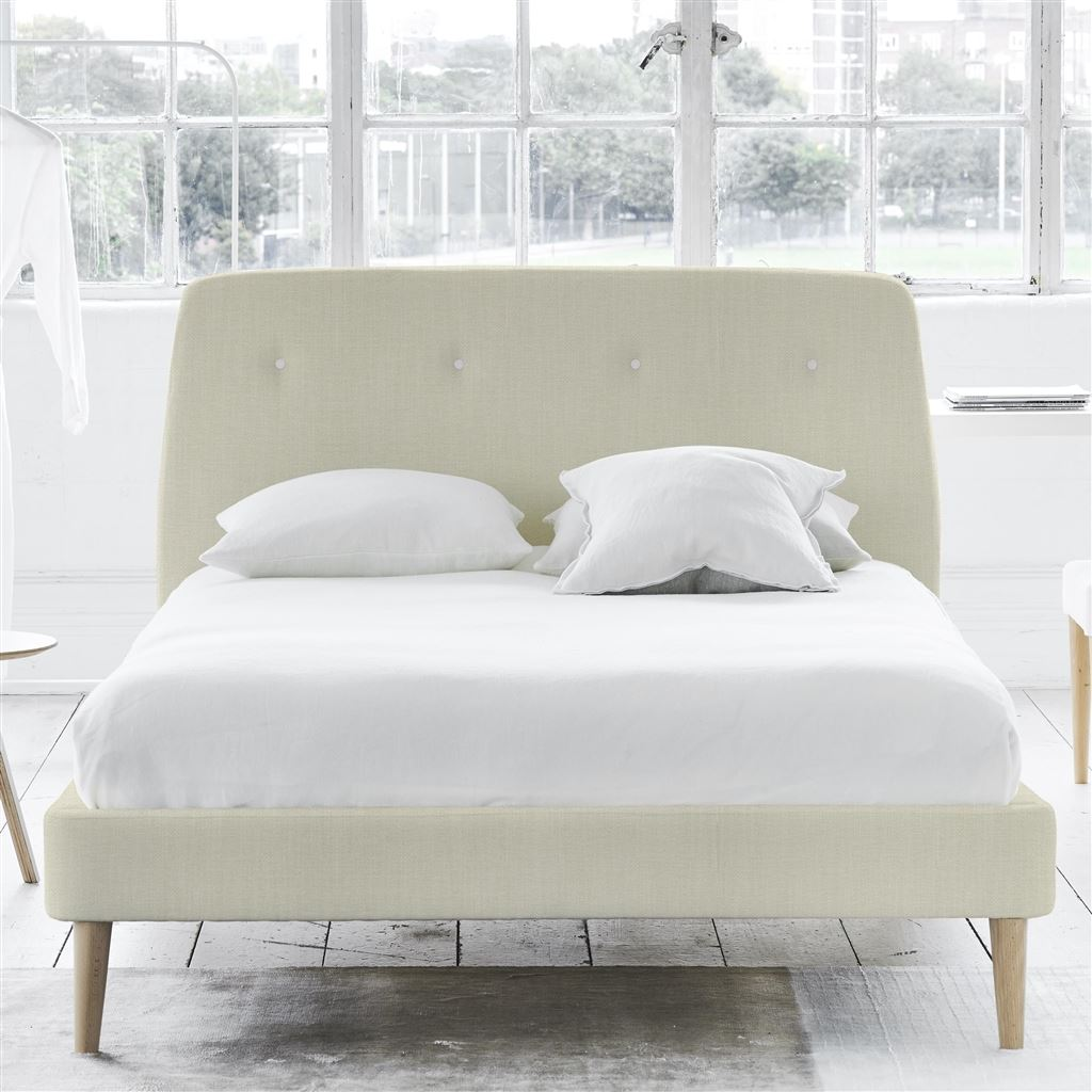 COSMO BED WHITE BUTTONS - KING - BEECH LEG - ELRICK CHALK